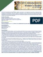 WS 2013 Introduction to Women's Studies Syllabus (MWF Fall 2014)