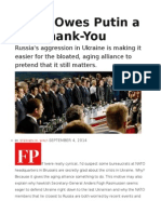 NATO Owes Putin a Big Thank-You