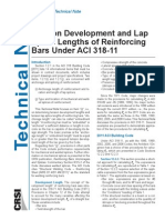 Tension Development and Lap Splice Lengths of Reinforcing Bars Under ACI 318-11