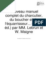 Nouveau Manuel Complet Du Charcutier, Du Boucher Et de l'Équarrisseur