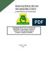 Evaluacion Genetica de Quinua, Kiwicha y Tarwi