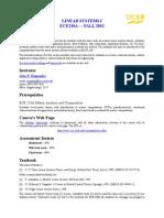 Linear System Course Breakdown