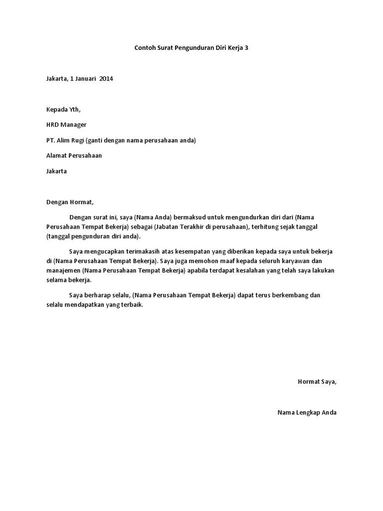 Contoh Surat Pengunduran Kerja Yang Baik Dan Benar - Bagi ...
