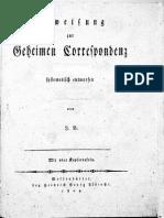 1804 Anweisung Zur Geheimen Correspondenz