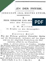Ritter 1805 Neue Versuche .. Über Den Galvanismus