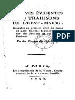 1792 Preuves Évidentes Des Trahisons de l'État-major