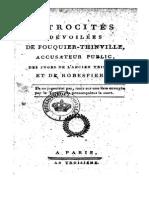 1794 Atrocités Dévoilées de Fouquier-Thinville