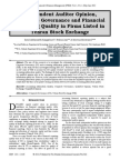 Independent Auditor Opinion, Corporate Governance and Financial Reporting Quality in Firms Listed in Tehran Stock Exchange