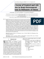 A Study on Locus of Control and Job Satisfaction in Semi-Government Organizations in Sultanate of Oman