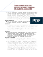 Extract of Joining Instructions for Training at Air Force Academy