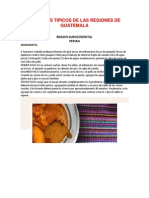 Platillos Tipicos de Las Regiones de Guatemala