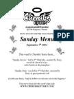 Sunday Lunch Menu 07092014