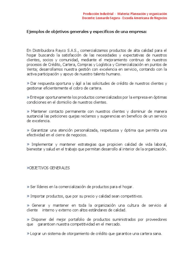 Contemporáneo Objetivos Generales De Reanudar La Muestra Ornamento ...