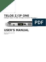 Telos ZIP ONE Manual v1.9.0r Print File