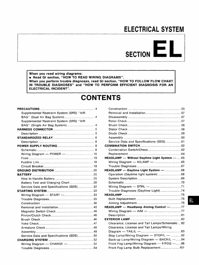 Manual De Taller Nissan Almera N15 Electrical System Pdf Airbag Battery Charger