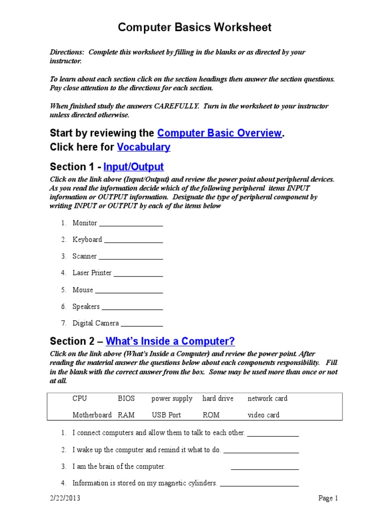 Computer Basics Worksheet Computer Data Storage Office Equipment