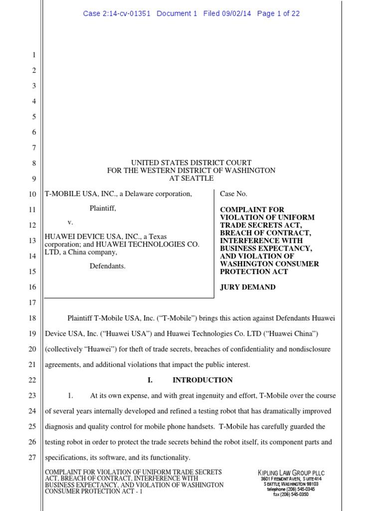 T Mobile Vs Huawei Suit Trade Secret Non Disclosure Agreement