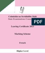 French Marking Scheme 2013