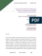 Uso de REA Para Fomentar El Razonamiento Matemáticos en Alumnos Del Nivel Medio Superior