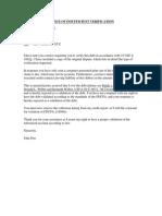 Notice of Insufficient Validation
