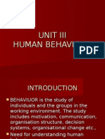 UNIT III Human Behaviour
