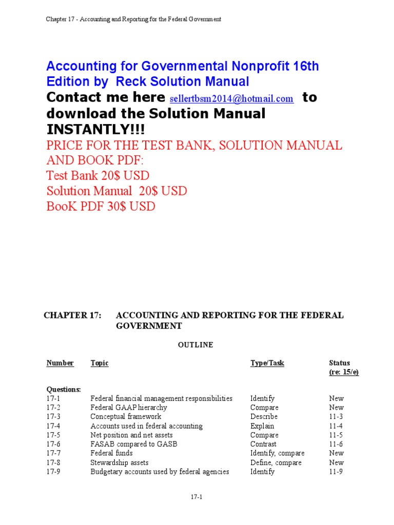 Accounting for governmental nonprofit 16e solution manual chapter accounting for governmental nonprofit 16e solution manual chapter 17 audit financial statement fandeluxe Image collections
