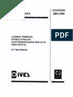 NORMA COVENIN 2897-95 - ACEROS PERFILES ESTRUCTURALES ELECTROSOLDADOS POR ALTA FRECUENCIA 1RA.REV