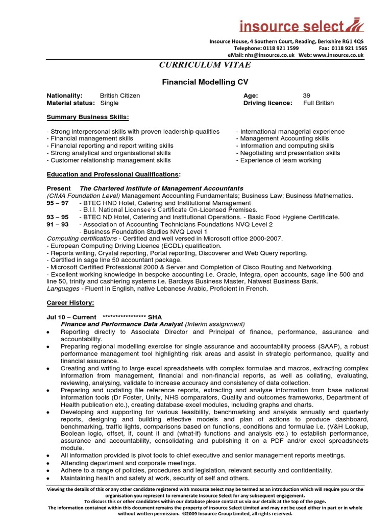 Nice Cima Certificate In Business Accounting Resume Sketch - Best ...