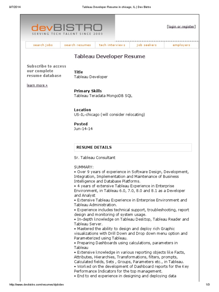 tableau developer resume r eacute sum eacute sql - Database Developer Resume