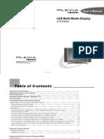 Olevia LT37HVS Users manual