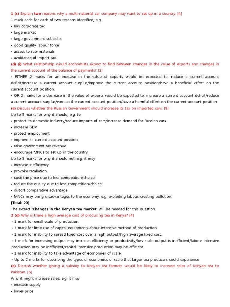 IGCSE Economics - Past paper questions - Structured Paper