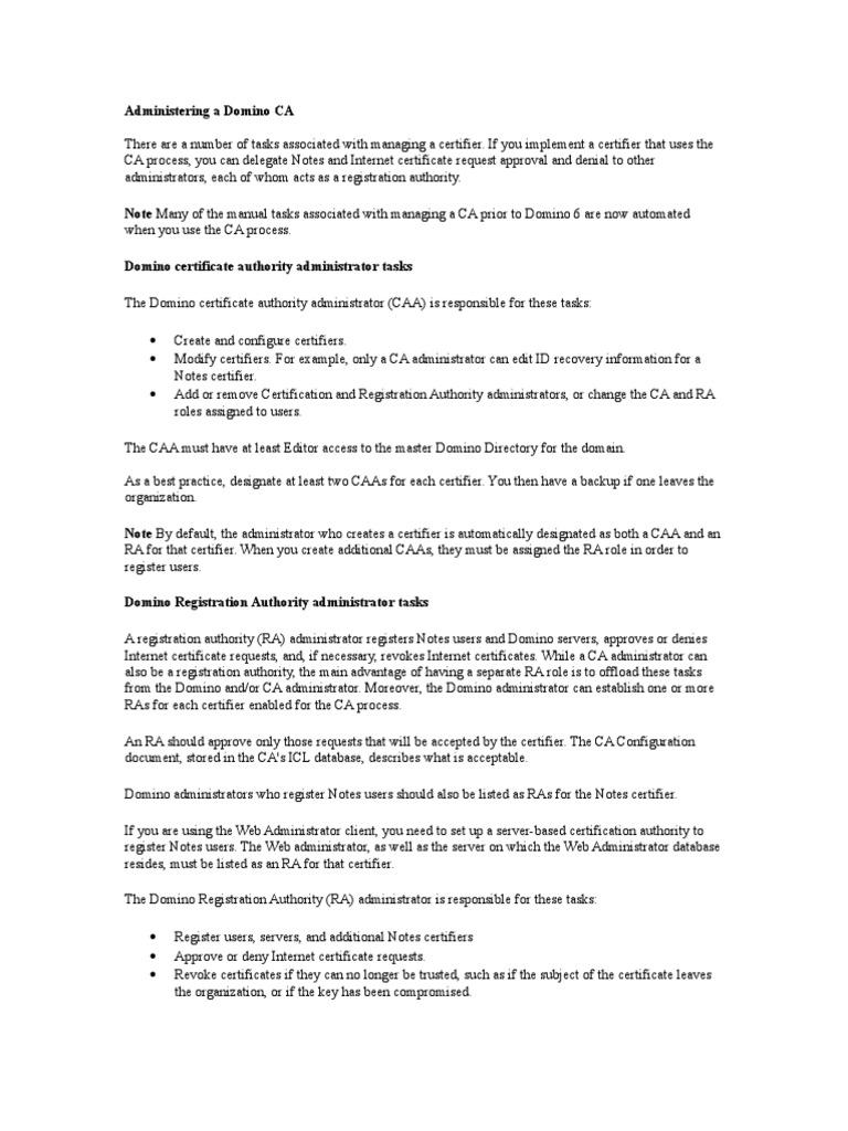 Lotus Domino Ca Admin Ibm Notes Public Key Certificate