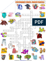 Clothes and Accessories Criss Cross Crossword Puzzle Vocabulary Worksheet 1