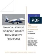 FINANCIAL ANALYSIS OF INDIGO AIRLINES  FROM LENDER'S PERSPECTIVE