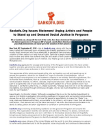 Sankofa.org Issues Statement Urging Artists and People to Stand Up and Demand Social Justice in Ferguson