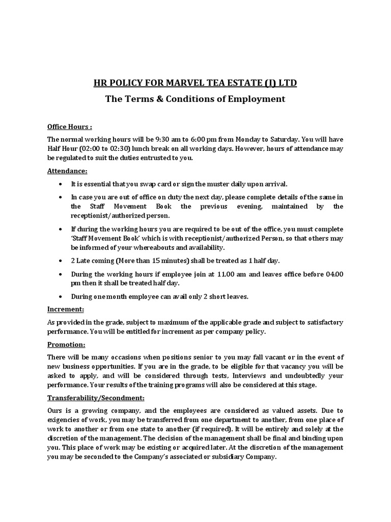 update HR Policy Marvel Teadocx Confidentiality – Company Policy