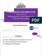 Week 12 &13 Managment as a Key Player in the Corporate Governance