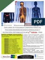 Posgrado de Psiconeuroinmunoendocrinologia y nutrición ortomolecualr - 4ª Edición