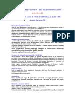 Programma Del Corso Di FISICA GENERALE A