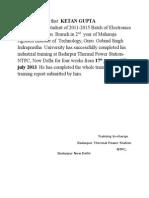 NTPC (Btpc) Summer Training Report2013