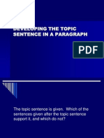 Developing the Topic Sentence in a Paragraph