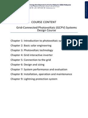 Course Content Gcpv Design Photovoltaic System Photovoltaics