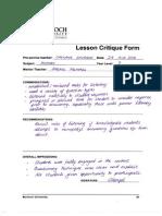 lesson critique form - secondary