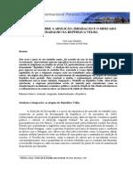 Anotações Sobre a Abolição, Imigração e o Mercado de Trabalho Na República Velha