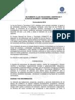 Convocatoria Vocaciones Cientificas Tecnologicas Niños y Jovenes-2014