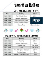 Hwangji Girls Christmas Camp Timetable