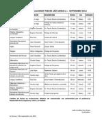 Calendario de Pruebas Tercer Año Medio Septiembre 2014