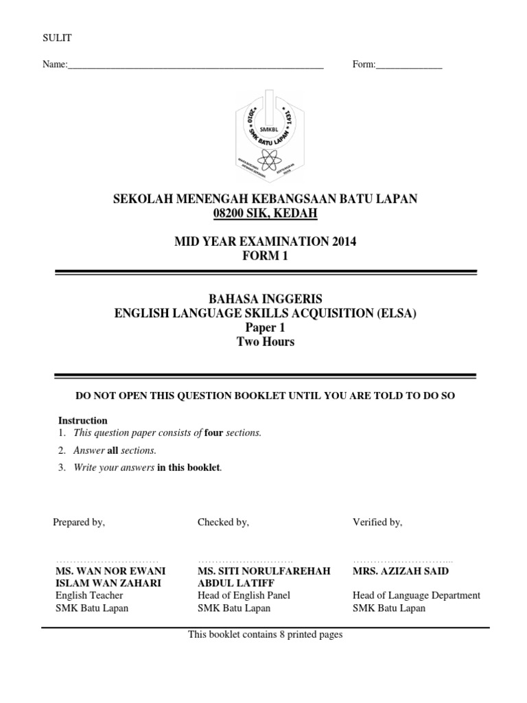 Form 1 Exam Pt3 Formatted Ellipsis Languages