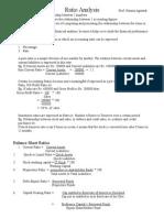 Ratio Analysis, Formulae