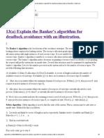 13(a) Explain the Banker's Algorithm for Deadlock Avoidance With an Illustration. _ Bituh